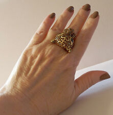 "$59 REAL COLLECTIBLES BY ADRIENNE ""ASIAN CRYSTAL LEOPARD RING  7 GOLDTONE BROWNS"