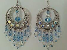 Blue Swarovski Crystal Drop Circle Pendant Earrings- Social, Gala, Bridal