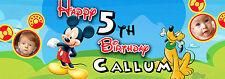 MICKEY Mouse Personalizzata PARTY STRISCIONE COMPLEANNO, BATTESIMO-fino a 6 foto