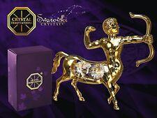 G 4198 Gold Sagittarius Schütze Swarovski Steine Kristall 24 Karat Crystal 10 cm