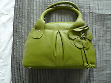 BRAND NEW - PER UNA LEATHER GREEN BAG - FLOWER LINING - RRP £69.99