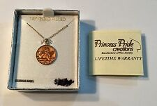"PRINCESS PRIDE 14K GOLD FILLED GUARDIAN ANGEL 9/16"" PENDANT & 13"" CHAIN"