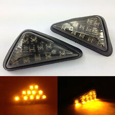 Motorcycle Universal Euro Triangle Flush Mount Turn Signal Smoke Amber LED Light
