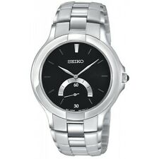 SEIKO AFFINITY DRESS BLACK DIAL STAINLESS STEEL MEN'S WATCH SRK017 NEW
