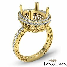 1Ct Diamond Engagement Filigree Ring Oval Semi Mount 18k Yellow Gold Halo Pave