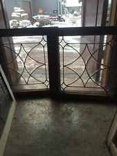Sg 497 Matched Pair Antique Beveled And Flat Glass Windows 24 X 24