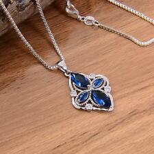 New .925 Stamped Sterling Silver Sapphire Blue Crucifix/Cross Pendant Necklace