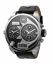 NEW DIESEL DZ7125 BIG DADDY BLACK LEATHER STRAP SILVER TONE MEN'S WATCH