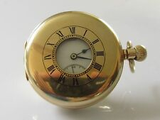 ART DECO 1933 J.W. BENSON 9ct YELLOW GOLD HALF HUNTER MECHANICAL POCKET WATCH.