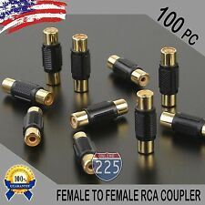 100 Pcs Bag Female To Female RCA Couplers BLACK w/Gold Plated Connectors PACK US