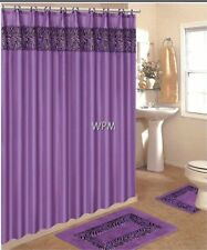 15 pc rug set animal purple zebra print BANDED bathroom shower curtain mat/rings