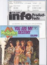 "The Hornettes, You are my destiny, Promo Info, VG+/VG++ 7"" Single 0888-9"