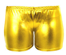 GIRLS METALLIC WET LOOK HOT PANTS SHINY CHIDLRENS SHORTS PARTY DISCO 5-13 YEARS