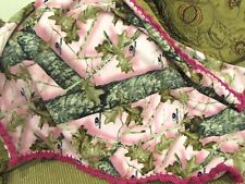 Baby Blanket W Crochet Hot Pink Ruffle Outdoors Country Nature Trees Farm Hunt