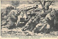 AK Vorbringen einer schweren Feldhaubitze in Flandern Feldpost 1915