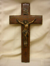 Vintage Wall Hanging Cross Religious Crucifix Wood Brass Made in France 14""