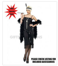 20s Style Ladies Black Flapper Dress Gatsby Costume Retro FREE Cigarette Holder