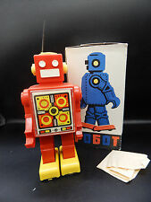 "vintage Russian ROBOT toy 1980's 9"" plastic windup red USSR pogot wind-up soviet"