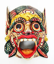 LARGE WHITE Wooden wall mask of Barong, protective deity of BALI, hand-carved