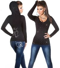 Sexy KOUCLA capuche tricot fin pull Hoodie sweater strass noir