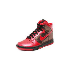 Nike Womens Dunk High Skinny Rare Metallic Glitter Red Black Shoes