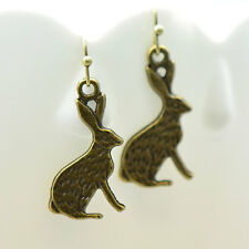 Bunny Rabbit Earrings, Antique Bronze Finish Vintage Style Charm Pendant Earring