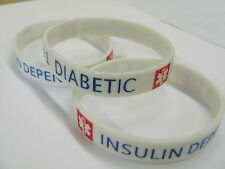 DIABETES Type 1 Diabetic Medical Alert Wristband Silicone bracelet rubber NEW
