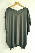 NEW HELMUT LANG Dolman Sleeve Jersey Knit Top Shirt Tunic grey M/L