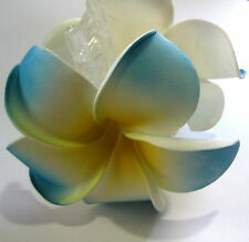 TROPICAL Blue Yellow & White HIBISCUS Foam Flowers Hair Claw CLIP NEW