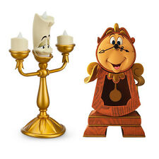 Disney Parks Beauty and the Beast Cogsworth Clock & Lumiere Light Up Figure New