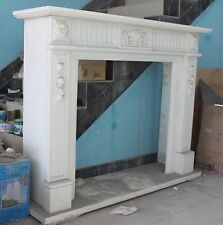 Hand carved Marble French Fireplace Mantel, White with Carved Rosettes