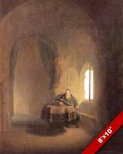 SCHOLAR STUDYING REMBRANDT PAINTING CHRISTIAN BIBLE HISTORY ART CANVAS PRINT