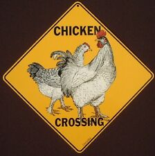 CHICKEN CROSSING SIGN aluminum print decor painting rooster picture signs home
