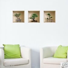 Set 3 Art BONSAI Wall Stickers 3D Picture Vinyl Removable Home Tile Decals Mural