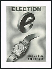 1940's Vintage 1947 Election Grand Prix Watch Mid Century Modern Art Print AD