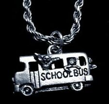 School Bus kids students Pendant Sterling Silver Charm