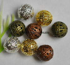 Wholesale 4mm 6mm 8mm Metal Charm Hollow Flower Ball Spacer Beads
