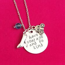Antique Silver Plt Have Courage Be Kind Cinderella Pendant Necklace Ladies Gift