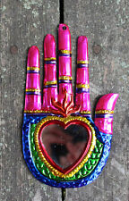 Mexican Tin Milagros Playful Pink Hand with Heart & Mirror Hand Made Love Token!
