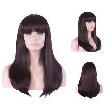 Custom Synthetic Natural Brunette Brown Straight Long Full Bang Womens Hair Wig