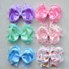 "6pc 3.5"" Girl Baby infant dog Boutique Hair Bows Alligator Clip for headband lot"