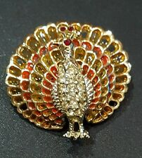 Vintage Signed Coro Peacock Brooch Pin Pendant Goldtone Enamel Birds Paradise