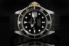 Rolex Steel & Yellow Gold Submariner 16613, Black Dial on a Rubber Strap