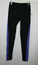 NEW CALVIN KLEIN WOMENS PERFORMANCE LEGGINGS PANTS BLACK & PURPLE SIZE S