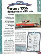 Mercury Montclair Coupe Hard top V8 1956 USA Car Auto Retro FICHE FRANCE