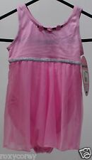 Jacques Moret Pink Sleeveless Babydoll Leotard Roses Attached Skirt XSmall 4/5