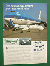 4/91 PUB SAAB 340 KLM BOEING 747 AIRLINER AER LINGUS AMERICAN AIRLINE FRENCH AD