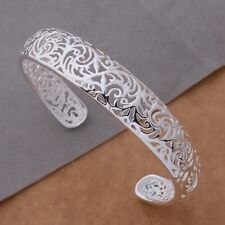 925 Sterling Silver Plated Filigree Curved Bracelet/Bangle/Cuff 16cm long