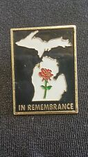 "RARE! Michigan ""IN REMEMBRANCE"" Poppy Veteran WWII Pin"