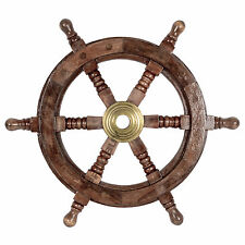 Decorative Wooden Ships Wheel Nautical Boat Seaside Home Decor Wall Ornament